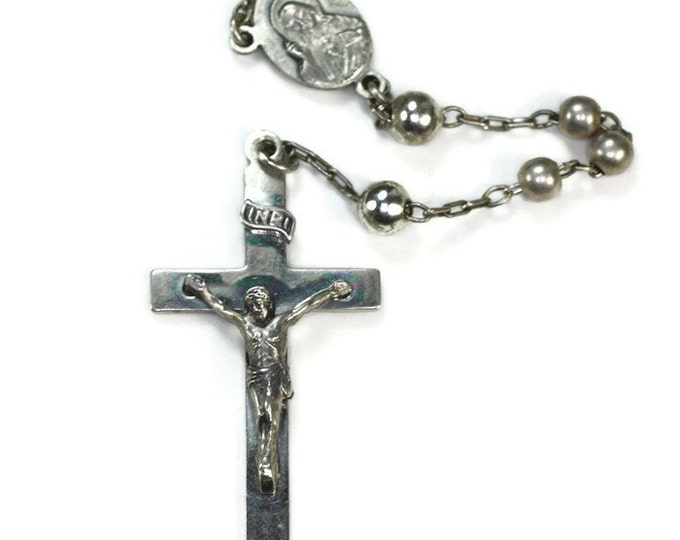 Art Deco Sterling Catholic Rosary Signed SF Swift and Fisher 1940s Vintage