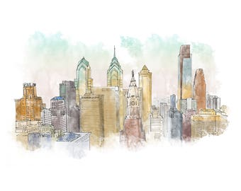 Philadeplphia Ink and Watercolor Drawing