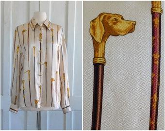 Silk Blouse Antique Walking Sticks Novelty Print