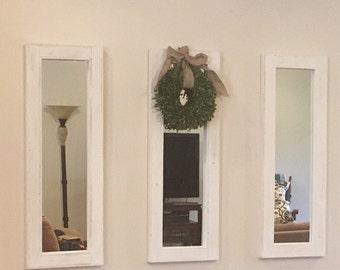 Three 40 x 14 distressed white mirrors - White wash Mirror Collage - Farmhouse Country Decor