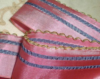 Antique French Ribbon Gold Metal Ruffled Edges