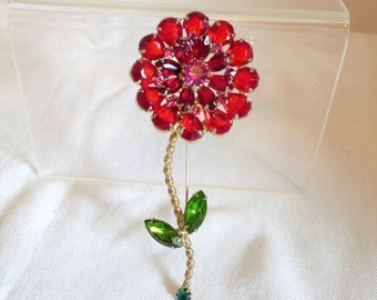 sale 15% Beautiful Flower Brooch Vintage Red Green Rhinestones Gold Tone Large