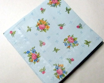 Decoupage Napkins,  retro vintage paper napkins, flower bunches on blue