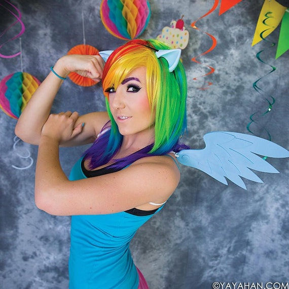 Pegasus Set (Pony Ears & Angel Wings) 16 Colors - for Cosplay, Parties, Clubbing, Cons, Fun, Halloween Costume