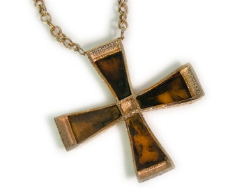 1970s Gold Tone Tortoise Shell Shell Stained Glass Look Overized Maltese Cross Vintage Pendant Necklace