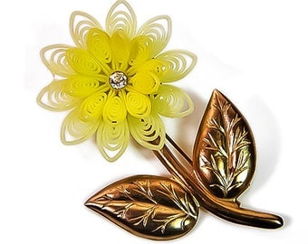 1960s Large Pale Yellow Plastic Rubber Gold Tone Metal & Rhinestone Flower VIntage Pin Brooch