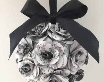Centerpiece Wedding Bridal Shower Rose Centerpiece Musical Notes Pomander