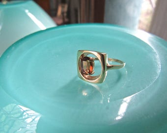 Vintage Modernist Madeira Citrine 18K gold Plated Ring
