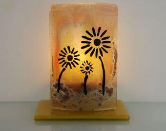 Candle Holder, Orange Flowers , fused Glass art design