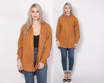 Vintage 80s Leather TOP / 1980s Oversized Buttery Soft Deerskin Suede Loose Fit Shirt
