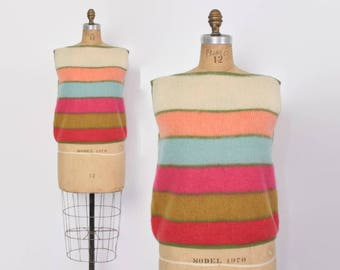 Vintage 60s ST JOHN Knit Top / 1960s Candy Stripe Shaggy Mohair Blend Sleeveless Sweater