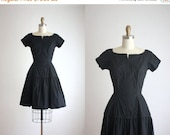 CLEARANCE. 1950s black cotton dress