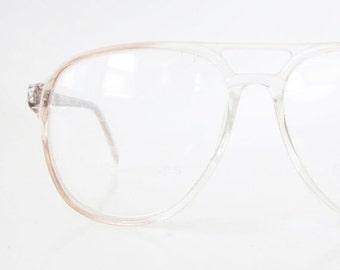ON SALE Mens 1980s Aviator Glasses Eyeglass Frames Eyeglasses Light Clear Flesh Peach 80s Oversized Huge Sunnies Deadstock NOS Guys Homme
