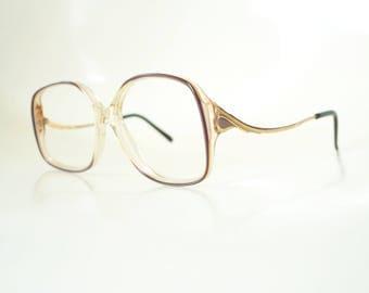 1970s Oversized Women's Glasses Ladies Optical Frames 70s Mauve Dark Purple Pearl Seventies Geek Chic Nerdy Grandma Chic Headstock
