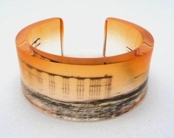 Saltburn Pier Orange Bangle, Contemporary Perspex Jewellery