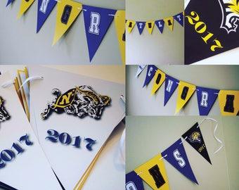 USNA Towson Mascot Any University Kindergarten College State Custom Congratulations Graduation Celebration Banner with Graduation Year
