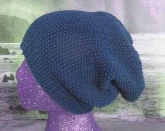 50% OFF SALE Instant Digital File PDF Download Knitting Pattern - Moss Stitch (Seed Stitch) Slouch hat knitting pattern by madmonkeyknits