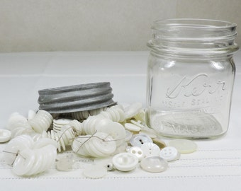 Vintage Mason Jar filled with Vintage White Buttons