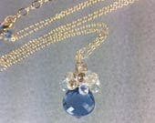 RESERVED FOR CHI Tiny Bonbon Necklace with London Blue Topaz quartz and fine white Sapphires on 14k Gold filled chain