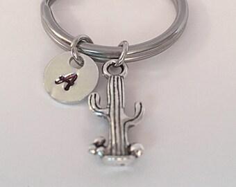 Cactus keychain with hand stamped initial charm. Personalized Keychain. Keychain Charm. Custom Keychain. Keychain gift.