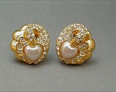 Nolan Miller Pearl Rhinestone Swan Clip Earrings