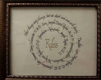 FAMILY spiral quote, made to order, handwritten calligraphy art, handmade, grandparent