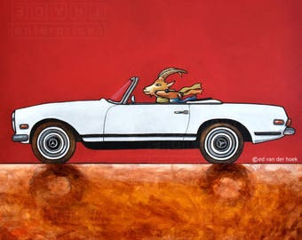 229 Mercedes 280 SL – Dog and capricorn driving cartoonesk funny print by Ed van der Hoek / ED17 print 14x14cm/5.5x5.5""