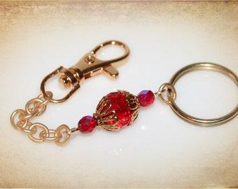 Elegant Keychain in Ruby Red or Vintage Gold