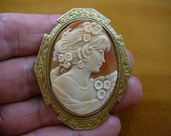 Woman with curls + flowers in hair and on shoulder of gown oval hand carved shell CAMEO brass pin pendant c1373