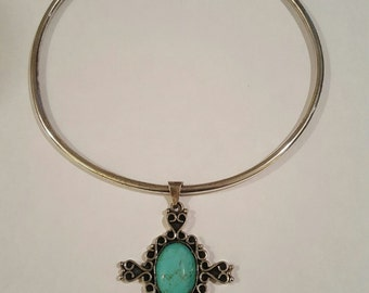 Vintage Mexico Signed Sterling Silver and Turquoise Cross Pendant Collar Necklace