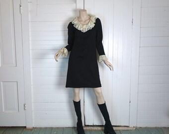 60s Goth Mini Dress in Black & White- Lace Ruffles- 1960s Mod- Small