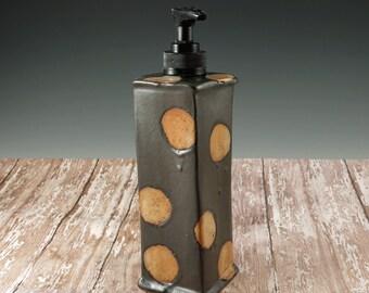 Black and Beige Ceramic Soap Dispenser - Handmade Pottery Soap Pump with Black Pump - Liquid Soap - Kitchen Decor - Bathroom Decor - 277