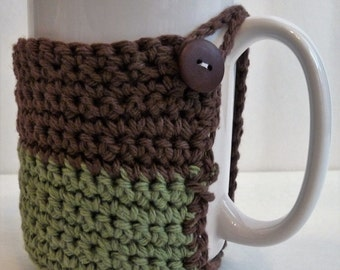Crochet Mug Cozy in Brown and Sage Green For Coffee Lovers and Tea Drinkers