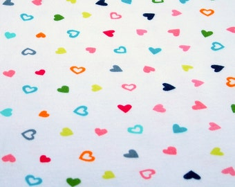 100% Cotton Interlock Knit Fabric White Background with Multicolor Hearts For Baby Girl Cotton Fabric for Baby Bibs Blankets Diapers & Wipes