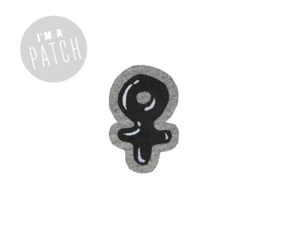 Candy Coated Feminist Icon Patch - Hand Printed Female Symbol Sew On Patch in Heather Grey & Oil Slick