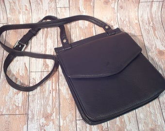 Elm Black Leather Cross Body Bag with magnetic flap