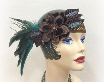 Flapper Headband - 1920's Headband - 20's Gatsby Headband - Teal Headband - Speakeasy Headband - 20's Theme Party - Gatsby Style Hair - OOAK
