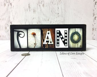 PIANO Wood Sign, Piano Gifts, Piano Art, Pianist Gifts, Music Sign, Music Gifts, Music Art, Music Decor, Musician Gift, Gifts for Musicians