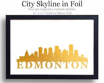 Edmonton, Alberta Skyline - Foil Print - 5 Sizes Available
