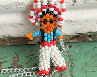 Vintage Native American Indian Seed Bead Doll necklace