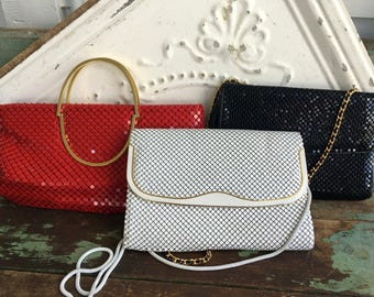 Vintage Lot 3 Handbags Purses Metal Mesh Red,White Black Strap and Handle Retro