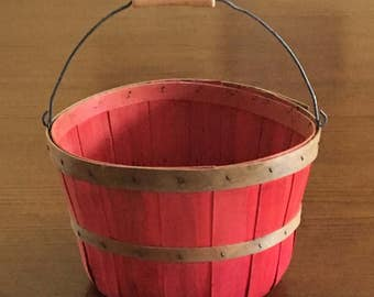 Peck Basket, Red Farm Basket with Green Bands, Sturdy Wire Handle with Wood Grip, Rustic Farmhouse, Apple Basket, Orchard Basket