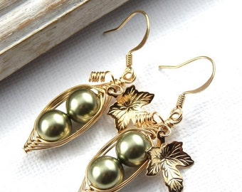 Christmas Sale Peas In A Pod, Two Peas In A Pod Gold Earrings, Choose Your Color, Pea Pod Jewelry