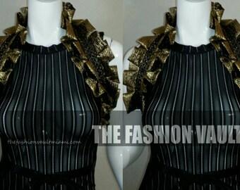 Accessorie dance costume Collar wrap Soft Shiny Black Gold  Cosplay Burlesque Ringmaster Manga Goth Wedding