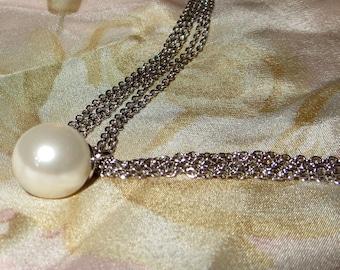 Faux Pearl Multi Chain Sterling Silver 925