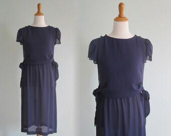 Pretty 80s Sheer Navy Blue Dress with Bib Bodice - Vintage Blue Secretary Sheer Dress - Vintage 1980s Dress S M