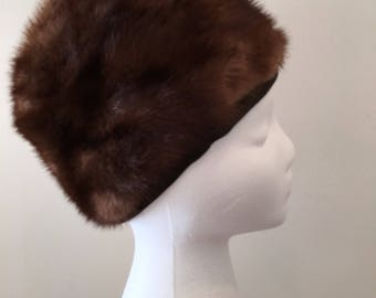 Vintage 1960s Fur Hat - Mink Turban - By Hudson's Bay Company - Brown Mink - Genuine Fur - Vintage Mink Fur - Fur Accessory - Quirky Fun