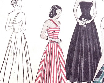 1940s Evening Gown Vogue 3106 EVENING DRESS Circular skirt, flange, strapless Fitted Bodice, Vintage Sewing Pattern Bust 31.5 Hip 35.5