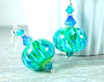 Aqua Blue & Lime Green Dangle Earrings, Neon Earrings, Bright Color Jewelry Earrings, Lampwork Earrings, Fun Whimsical Jewelry, Playful
