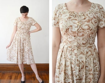 1950s Floral Day Dress - S